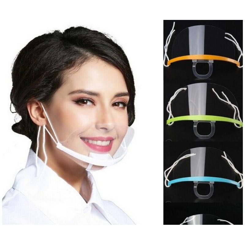 10 Stück - transparente Mundmaske - Anti-Kondensation und Speichel - Kunststoff-Mundschutz - Lippenmessung