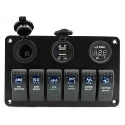 6 Gang 12V Schalttafel - 5V Dual USB - digitales Voltmeter