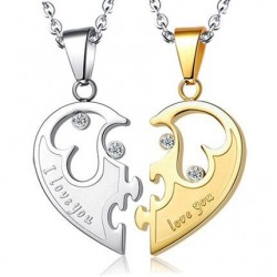 Heart-shaped pendant - I love you - stainless steel necklaces for him and her - 2 pieces