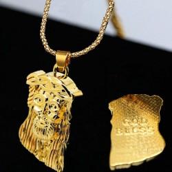 Gezicht van Jezus Christus hanger - met gouden ketting