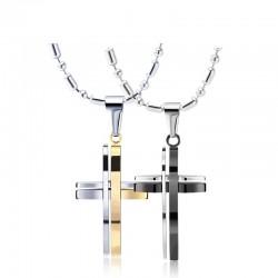 Modisches Schwarz-Silber - Gold-Doppelkreuz - Edelstahl-Halskette - Unisex