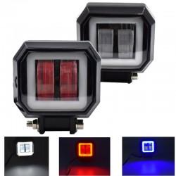 20W - 12V - 6000K - DRL - Barra de luces LED con HELO - reflector - para motocicleta - SUV - camión - ATV - tractor