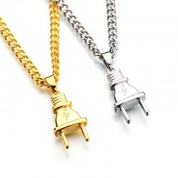 Electrical Plug Shape Pendant Necklace - Gold/Silver