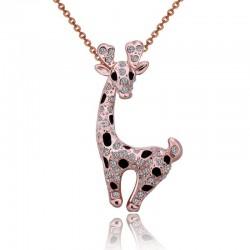Collier en acier inoxydable avec girafe en cristal