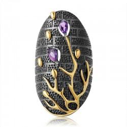 Zircone viola vintage - albero d'oro - anello