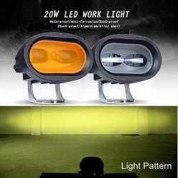 20W 6D 12V 6000K - reflektor roboczy do motocykla - samochody terenowe - ATV - SUV - retro listwa LED - lampa