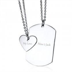 Liebe Paare Anhänger mit Halsketten - freie Gravur - Edelstahl