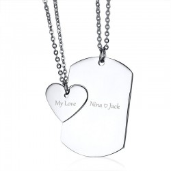 Vnox Free Engrave Couple Necklace ID Dog Tag Heart Pendant High Polished Stainless Steel Trendy Wome