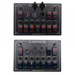 Panel przełączników kołyskowych - 12V - 10-krotny - LED - zapalniczka - wodoodporny do samochodu - łodzi - ciężarówki