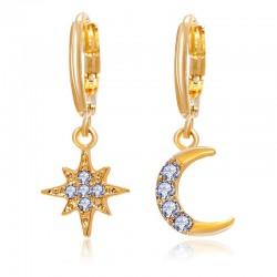 Kryształowa gwiazda i księżyc - złote kolczyki