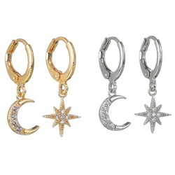 Crystal moon & star - gold & silver earrings