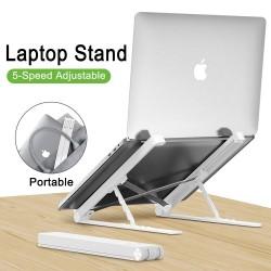 Soporte de plástico para MacBook / PC portátil - con protección de gel de sílice - ajustable y plegable