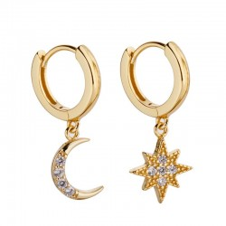 Star Moon Earrings - Women
