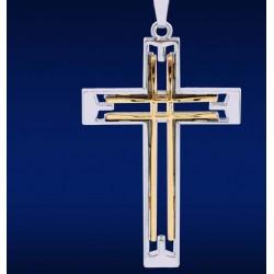 Podwójny wydrążony krzyż ze stali nierdzewnej - skórzany naszyjnik