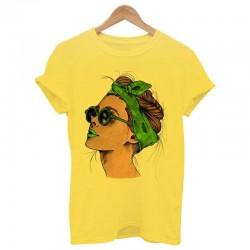 Sommer-T-Shirt mit Frauendruck - T-Shirt - gelb - pink - weiß