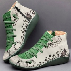 Lace-up retro ankle boots - flat - side zipper - leather