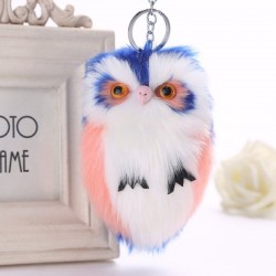 Fluffy Owl - fur keychain