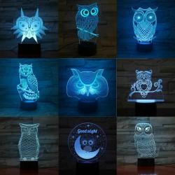 3D Eule - LED Nachtlampe - USB - Touch Control / Fernbedienung