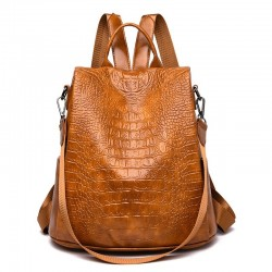 Casual Leather Bag - Women - Brown/Black