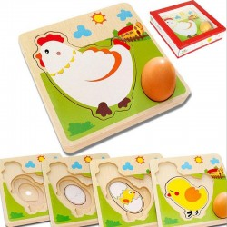 3D wooden puzzle - multilayer jigsaw - hen laying eggs - chicken growth - educational toys