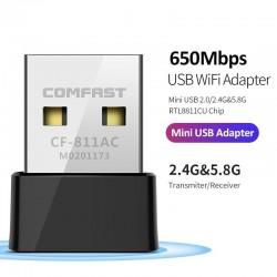 CF-811AC 650Mbs - 2.4G & 5G - dubbelt band - bärbar trådlös USB-wifi-adapter - hög hastighet