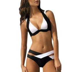 Czarno-biały strój kąpielowy - komplet bikini