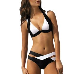 Schwarz-weißer Badeanzug - Bikini-Set