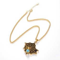 Spider web necklace - stainless steel - gold - silver