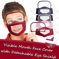Maschera viso-bocca per bambini con protezione per gli occhi staccabile - bocca visibile - riutilizzabile - lavabile
