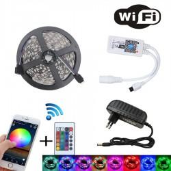 WIFI RGB LED-remsljusuppsättning - SMD 2835 DC12V vattentät - 5M - 10M - 15M - 20M - med WIFI-regulator och strömadapter