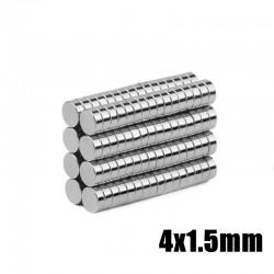 Imanes de neodimio N35 - imán de cilindro fuerte - 4 * 1,5 mm - 100 piezas