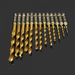 1/4 Inch hex shank drill set - HSS titanium coated - 1.5 - 6.5mm - 13 pieces