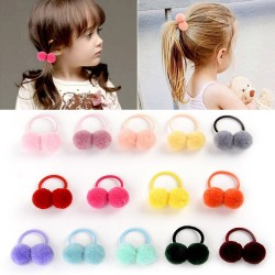 12 - 14 pieces - elastic - kids hair band with double fur ball