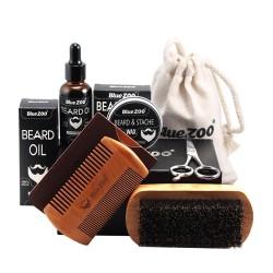 Olej - wosk - grzebień - nożyczki - zestaw do pielęgnacji brody - 7 sztuk