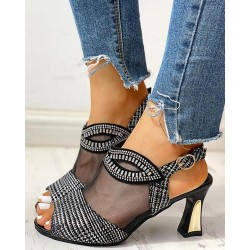 Summer mesh peep toe sandals - high heels - woman