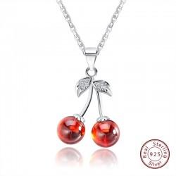 Doppelkirsche - Halskette - Ring - Ohrringe - Armband - 925er Sterling Silber
