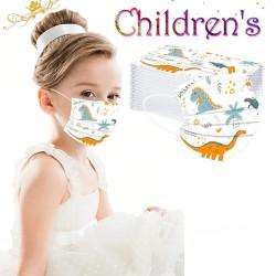 50 pezzi - maschera facciale medicale antibatterica usa e getta - maschera bocca per bambini - 3 strati - stampa animalier