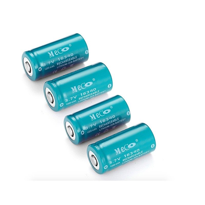 MECO 3.7v 1200mAh Rechargeable CR123A/16340 Li-ion Battery 4 PCS