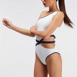 One shoulder padded - swimsuit - women - blue - pink - white