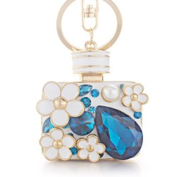 Perfume bottle with crystals and flowers - keychain