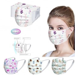 50 sztuk - jednorazowa antybakteryjna maska medyczna na twarz - maska na usta - 3-warstwowa - unisex