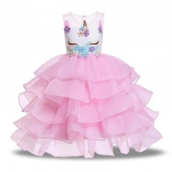 Girls Unicorn Flowers Cake Tutu Dresses With Beadbad for Kids Princess Fancy Birthday Theme Party Co