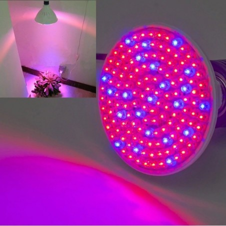 E27 LED grow light - 138 LEDS - 7W - plant & flower growing - hydroponic