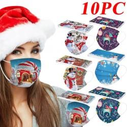 10 pezzi - maschera medicale monouso antibatterica - maschera per la bocca - 3 strati - unisex - stampa natalizia