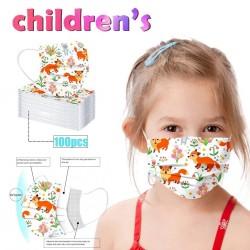 50 - 100 Stück - antibakterielle Einweg-Gesichtsmaske - Mundmaske - 3-lagig - für Kinder - Tierdruck