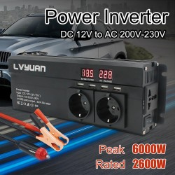 Car Inverter - 6000W - DC 12V/24V To AC 220V - LED Display - eu plug - universal