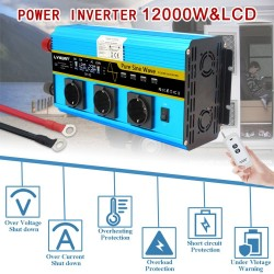 DC 12V to AC 220V 230V - 12000W - sine solar power inverter - LCD voltage display - wireless remote control