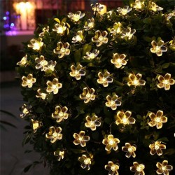 5m - 7m - 12m - 22m - Peach Flower Solar Lamp - Power LED - String Fairy Lights - Christmas Decor - Outdoor