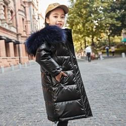 Długa - ciepła kurtka zimowa z futrzanym kapturem - dla dziewczynek