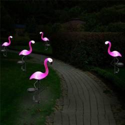 Solar flamingo lamp - pink - waterproof